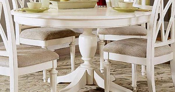 4 Ft Distressed White Round Dining Table W One Leaf Ebay Ca Item 230159668641 End Tim White Round Kitchen Table Round Dining Table Sets Round Kitchen Table