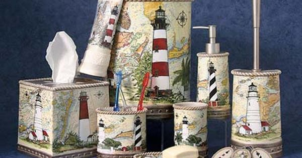 Harbour Lights Bath Accessories Oceanstyles Com Lighthouse Bathroom Lighthouse Decor Nautical Decor