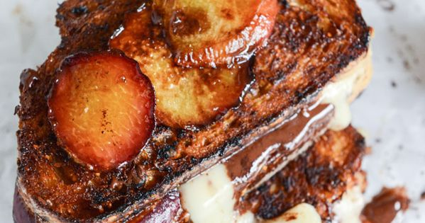 Caramelized Peach, Mascarpone and Dark Chocolate Grilled ...