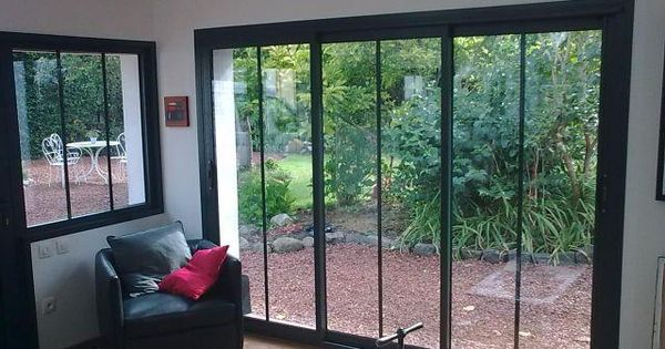 baie coulissante alu vue int rieure fenetres pinterest salons extensions and verandas. Black Bedroom Furniture Sets. Home Design Ideas