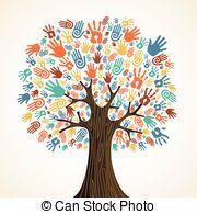 Multi Social Solidarity Tree Hands Colorful Diversity Tree Hands Illustration Vector Illustration Layere Hand Illustration Colorful Trees Vector Illustration