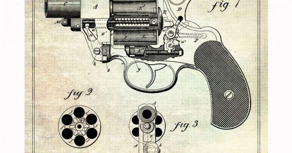 handgun blueprints 740x1081 Vintage Patent Application Posters
