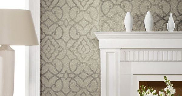 Grillwork mica wallpaper in greys design by candice olson