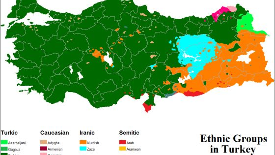 Religion: What you see here is a map of the ethnic groups in Turkey. Most of the population in Turkish. In fact, 70-75% of the population. 18% of the population is Kurdish, and 7-12% belong to other minorities.