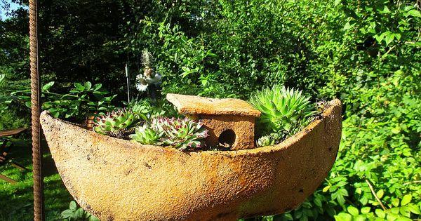 Meine Hauswurzenflotte Nun Sind Die Boote Bepflanzt Pflanzen Blumentopf Keramik Gartendekor