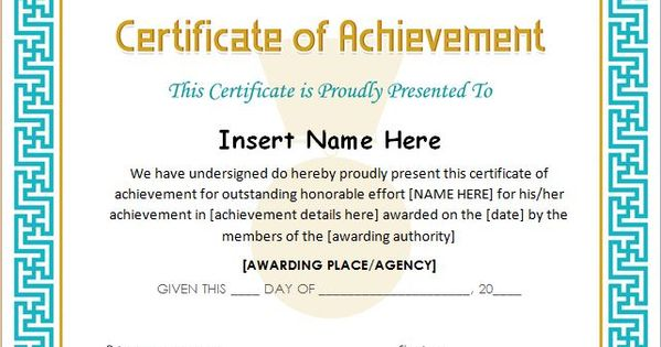 Certificate of Achievement Template for MS Word DOWNLOAD ...
