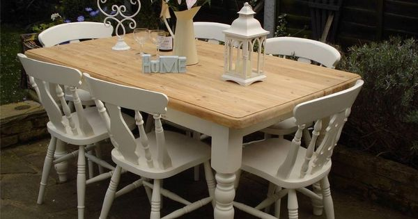 Shabby chic country farmhouse pine table and 6 chairs - Muebles laura ashley ...