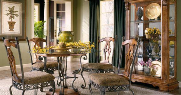 Beautiful Metal Distressed Oak Dinette Set W 48 Quot Glass