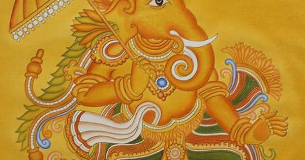 Kerala mural painting of lord ganesha gauri putra for Mural art of ganesha