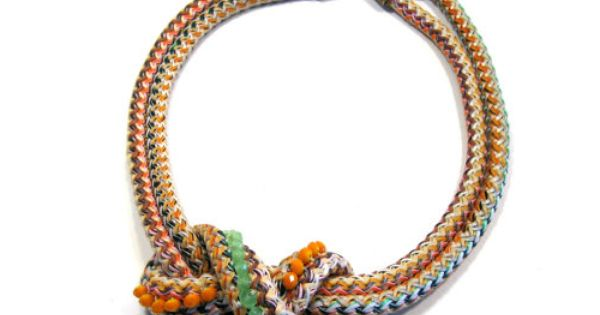 Statement bib necklace in citrus shades knotted rope by maslinda, $67.00