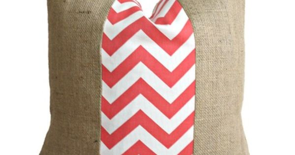 These pillow covers are adorable! Burlap and fabric. Coral Chevron Fabric and