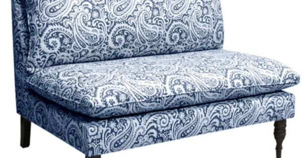 I pinned this victoria settee in arta indigo from the for Ava nailhead chaise