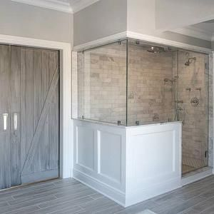 Bathroom Idea White Subway Tiles In The Shower Obviously But Love The Gray Flooring Tiles That Look Like Wood Fl Bathrooms Remodel Farmhouse Shower Home
