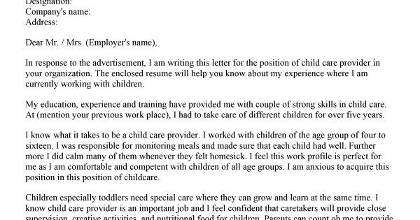 child care resume cover letter    topresume info