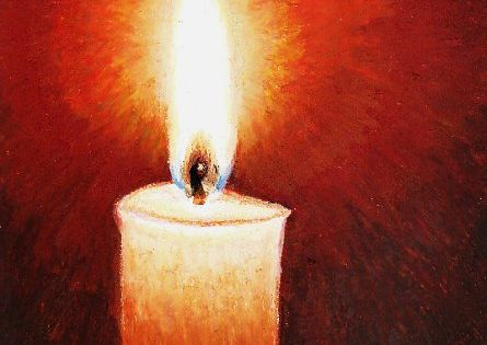 Oil Pastel Painting Of A Candle With Flame And Detailed