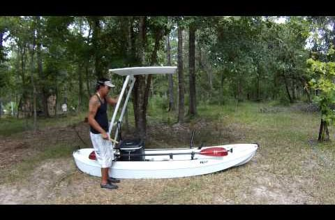 Diy kayak shade top and night fishing rig youtube for Youtube kayak fishing