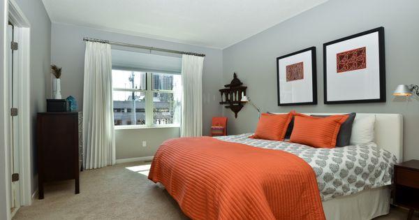 Pin By Aresi Group On Bathrooms Grey Orange Bedroom Apartment Bedroom Decor Bedroom Orange