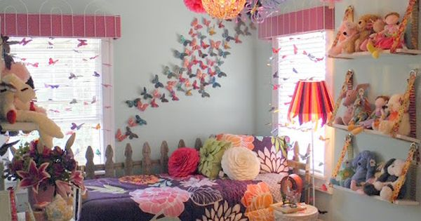 Girls room ideas. Love the butterflies on the wall and pompoms