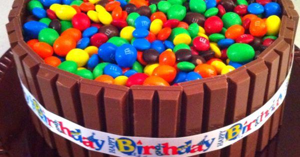 Russell's birthday cake. Yellow cake; chocolate icing; Kit Kats; and, plain &