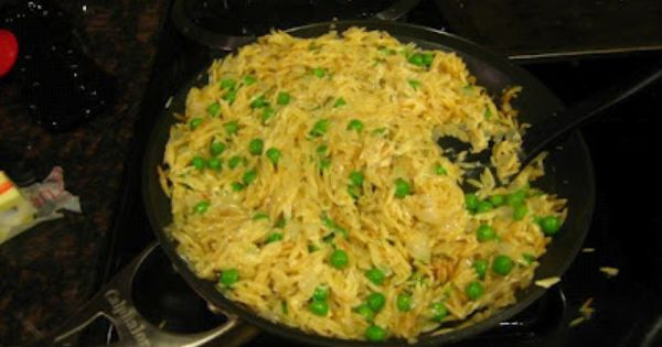 Orzo with peas and parmesan. I usually make something like this with ...