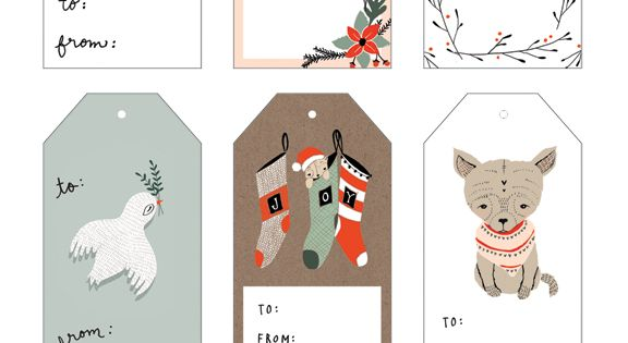 Free printable Illustrated Holiday Gift Tags by Kelli Murray (and many more