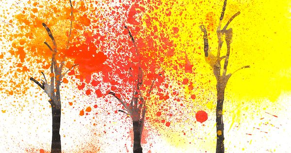 Autumn Trees, (blowing paint through straws and splatter painting)