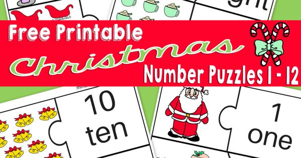 Christmas Number Printable Puzzles 1 – 12