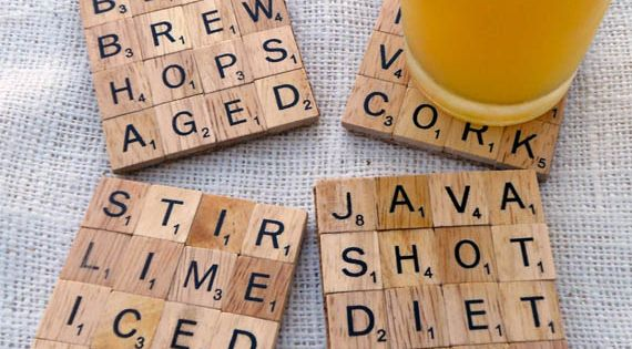 Totally DIYable Scrabble Tile Coasters - cool craft idea to sell at