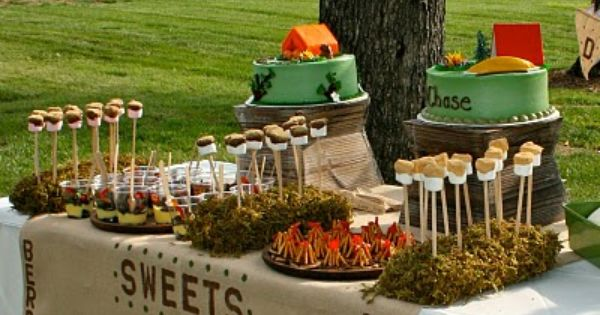 All of these photos give great ideas for a camping party. So