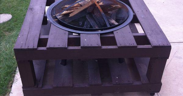 Pallet fire pit pallet furniture pinterest pallet for Pallet fire pit