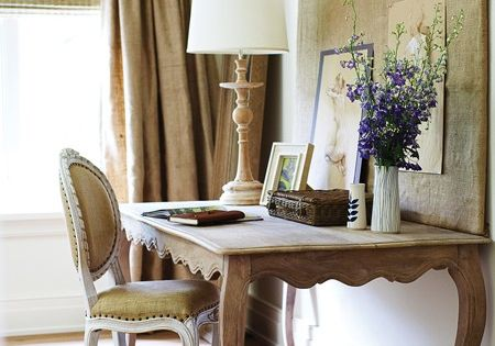 Love the clear and calm space in brown and blue. French Country