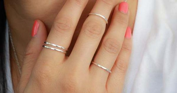 Stacking thin rings. love the nail color too
