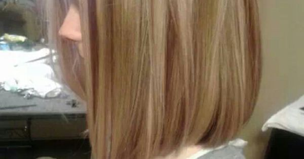Long Bob With Red Lowlights Blonde Highlights Hair