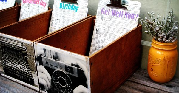 These are my greeting card holders i made out of old small for Small wine crates