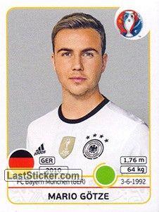 Mario Gotze Panini Uefa Euro France 2016 Germany Alemania Diemannschaft Deutschland Sticker Album Germany Football Mario Gotze