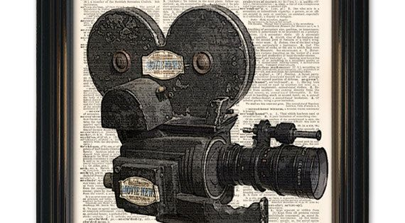 Vintage Movie Camera Dictionary Art Print Great Home