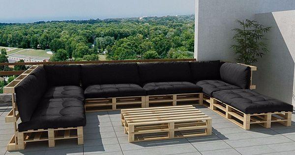 Muebles De Jardin Baratos Jard N 20 Ideas Hechos Con Palets Sofa Grande Cojines Negros Palette Garden Furniture Cheap Garden Furniture Backyard Patio Furniture