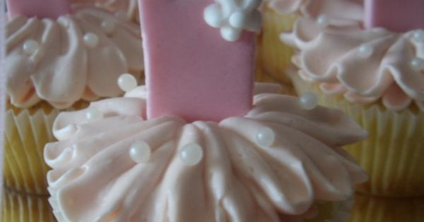 Pretty pink ballerina cupcakes would be cute for a little girl's birthday