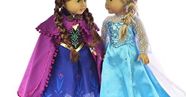 Ebuddy ® Elsa and Anna Sparkle Princess Dress for 18 inch doll