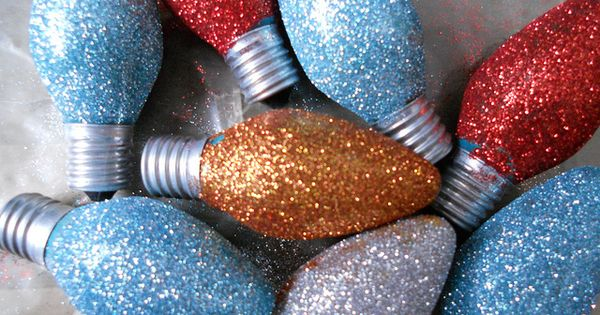 Old, burnt out Christmas lights dipped in glue then glitter. Pile in