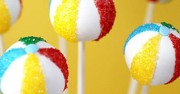 Beach Ball Cake Pops! For more great party ideas visit GetThePartyStarted www.getthepartystarted.etsy.com