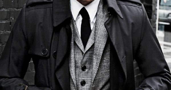 Light Grey Suit, Black Trench coat, White Shirt, Black Tie
