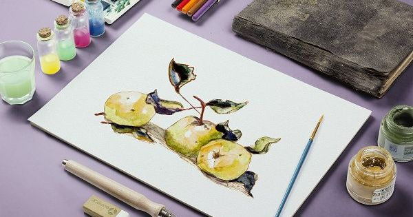 Watercolor yellow apples by So, Maria on @creativemarket