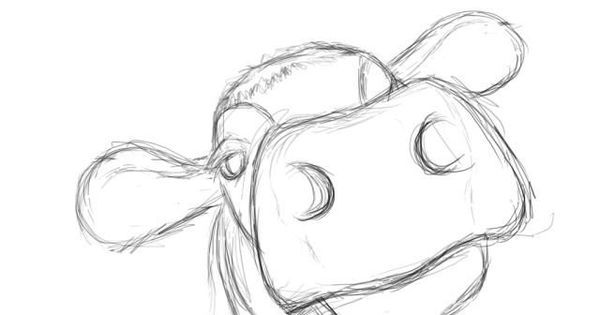 how to draw easy cow