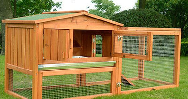 Pawhut Wooden Large Chicken Rabbit Hutch Cage House