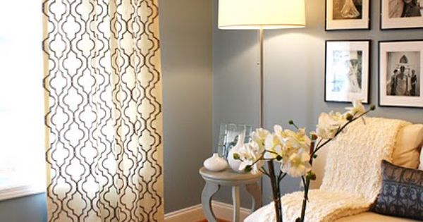 Love the grey wall color, patterned curtains and light, airy feel of