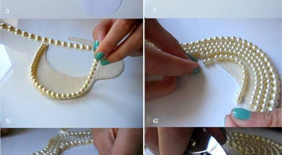 diy pearl collar necklace steps 513x1024 15 Innovative DIY Fashion Projects