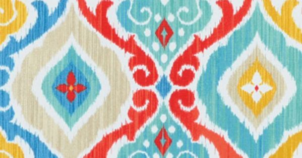 Red Green Yellow Navy Blue And Turquoise Fabric