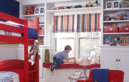 Boy kid bedroom. white trim & accents, light blue ceiling, dark blue