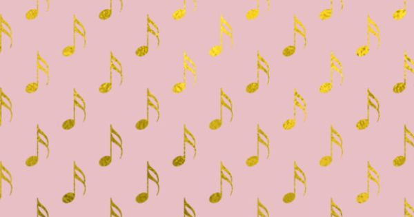 Gold Foil & Pink Musical Notes IPhone 5 Wallpaper And